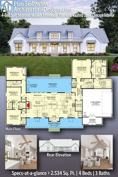 Darling Modern Farmhouse House Plan 56496SM gives you 2500 sq ft of living space with 4 bedrooms and 3 full baths. AD House Plan #56496SM #adhouseplans #farmhousestyle #architecturaldesigns #houseplans #homeplans #floorplans #homeplan #floorplan #houseplan Modern Farmhouse Plans, Modern House Plans, Farmhouse Style, Brick Shelves, Alternate Exterior, Shed Dormer, Wall Exterior, Farm Sink, Roof Plan