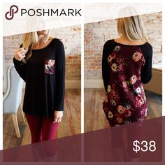 """Black tunic with burgundy floral back and pocket Super soft thick knit tunic. Modeling size small.  96% rayon 4% spandex. Bust laying flat: S 18"""" M 19"""" L 20"""" Length S 27/30"""" M 28/31"""" L 29/32"""". Add to bundle to save when purchasing. IR9070915.2413C Infinity Raine Tops Tunics"""
