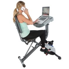 Exerpeutic Workfit 1000 Desk Station Folding Exercise Bike with Pulse Measurement