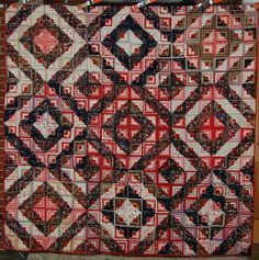 OUTSTANDING 1880's Vintage Log Cabin Antique Quilt ~6800+ TINY PIECES!