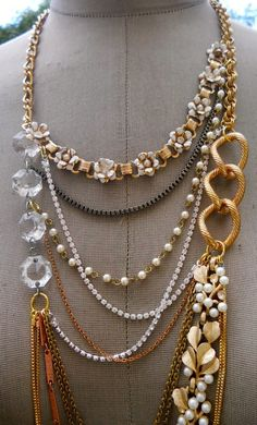 Long Gold Necklace With Vintage Flowers Layered by AllThingsTinsel, $148.00