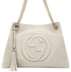 fdf1980f9 Gucci Tote in white Leather Chain, Leather Tassel, White Leather, Pebbled  Leather,