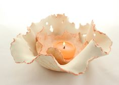 Clay Candle Holder  Ceramic Free Formed by SueDicksonGallery