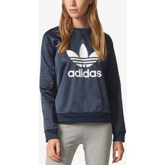 official photos 3a02e 228aa adidas Originals Satin Treifoil Sweatshirt (60) ❤ liked on Polyvore  featuring tops, hoodies