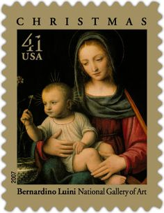 US Stamp 2007 - Christmas features Bernardino Luini's early 16th-century painting of the Madonna and Child. We like how the loving scene really captures the calm and reflection of the season. How do you slow down during this time of year?