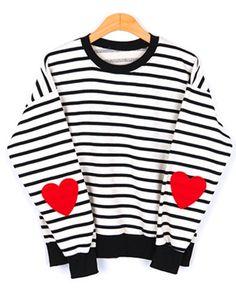 Striped Heart Sweater