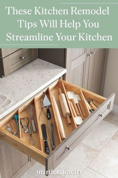 See the best kitchen remodel tips that will help your kitchen become more organized with smart storage solutions. Click here to see these kitchen remodel tips and more home makeover decor ideas. #marthastewart #kitchentips #kitchendecorideas #kitchenrenovations #kitchen