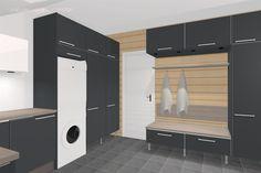 Pukeutumispenkin puoleiselle seinälle olemme ajatelleet samaa paneelia, mitä tulee saunaan ja saunan ja kylppärin kattoon. Se vähän yhdistäisi jo tätä tilaa ...