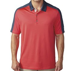 adidas Golf Men's Climacool Pique Geo Block Polo Shirt, Shock Red/Mineral Blue S, XX-Large