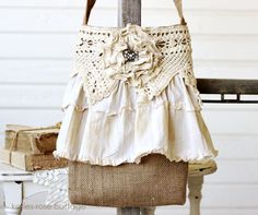 @Katie's Rose Cottage Designs Burlap Tattered Rose Cross Body Tote