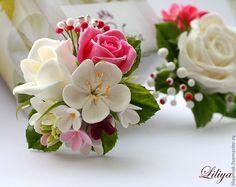 """Купить зажим для волос """"for Princess"""" - розовый, розы ручной работы, фрезия, разноцветный"""