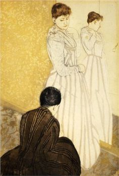 1891 The Fitting - Mary Cassatt Technique: drypoint, etching Dimensions: 25.781 x 37.465 cm Gallery: Private Collection