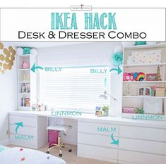 Desks can be so expensive, but these amazing DIY Ikea desk hacks will give you a stylish workspace on a small budget! I am obsessed with number 2 and About Desks can be so expensive, but these amazing DIY Ikea desk hacks will give you Desk Dresser Combo, Dresser Table, Dresser Top, Ikea Built In, Desk Hacks, Custom Desk, Ikea Desk, Ikea Kids Dresser, Desk Organization Ikea