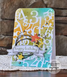 Card by Amy Sheffer. Reverse Confetti stamp set: Beautiful Banners. Confetti Cuts: Beautiful Banners and Oh My Stars. Birthday card.