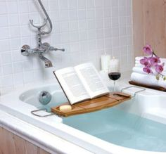 Bookshelf: Bathtub caddy  Ahh, a bath and a book and a glass of red wine.