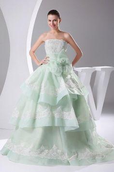 Robe de mariée princesse en couleur multi-couches dentelle organza