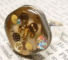 Steampunk Fleurdelis Resin Ring  Watch Case Back by wiggelhevin, $23.00