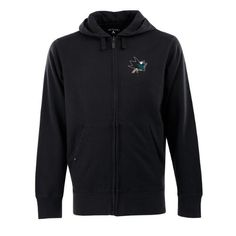 NHL San Jose Sharks Signature Hood Long Sleeve Full-Zip Fleece, Black, Large by Antigua. $54.99. Please Note: This item is made-upon-order, therefore requires additional processing time, which is reflected in the estimate above. Please Note: The men's garments from this manufacturer tend to run a little large, so if you're between sizes, you should go with the smaller size. Keep warm in one of these 80% cotton/20% polyester fleece long sleeve hooded sweatshirt with ribbed cuf...