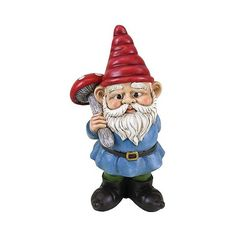 Outdoor Sculpture: Exhart Gnome Holding Mushroom: Multicolored ($25) ❤ liked on Polyvore featuring home, outdoors, outdoor decor, white, outdoor patio decor, outdoor garden sculptures, garden gnomes, outdoor lawn decor y outdoor garden decor