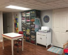 Katy: Today I thought I would share with you some photos of my sewing room. When I first started sewing, I had a shelf in the linen closet for my stuff. When we moved, I got a shelf and a drawer and I se…