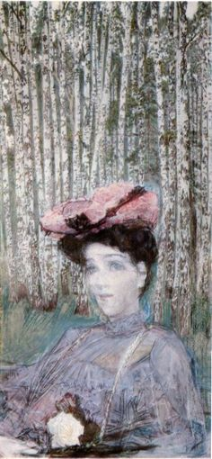 Portrait of N. Zabela-Vrubel on the Edge of a Birch Grove by @mvrubel #artnouveau