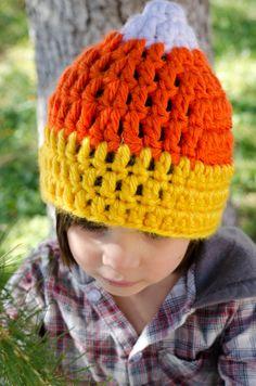 Candy Corn Beanie  Kids Crochet Halloween Hat by CarrisCreations, $17.50