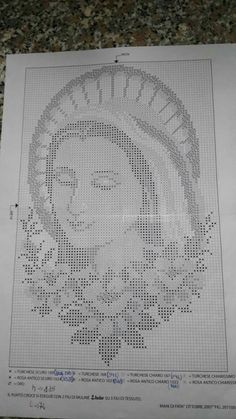Vintage Crochet Wall Decoration Virgin Mary and Christ - Religious Icon - Christian Home decor - Rel Blackwork Cross Stitch, Cross Stitch Rose, Cross Stitch Flowers, Cross Stitching, Cross Stitch Embroidery, Cross Stitch Designs, Cross Stitch Patterns, Crochet Placemats, Goblin