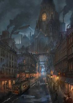 Dieselpunk or steampunk fantasy city Steampunk City, Ville Steampunk, Steampunk Kunst, Steampunk Artwork, Steampunk Wallpaper, Steampunk Images, Victorian Steampunk, Fantasy Town, Fantasy World
