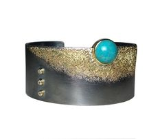 1 Seafoam Cuff with Chrysocolla by Jenny Reeves (Gold, Silver, & Stone Bracelet) | Artful Home