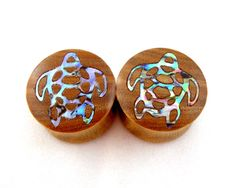 """Sea Turtle Abalone Inlay Wooden Plugs - 5/8"""" (16 mm) 3/4"""" (19 mm) 7/8"""" (22 mm)  1"""" (25.5 mm) 1 1/8"""" (28 mm) 1 1/4"""" (32 mm) Wood Inlay Gauges.  via Etsy."""