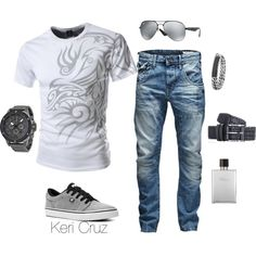 Men's casual by keri-cruz on Polyvore featuring DC Shoes, Armani Exchange, Ray-Ban, Jack & Jones, Hermès and David Yurman