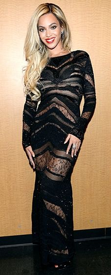 Beyonce wears a sheer Roberto Cavalli gown at the DirecTV Super Saturday Night