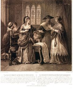 Eighteenth/nineteenth century engraving depicting Katherine of Aragon, Quene of England, refusing to submit Henry's idea of an annulment; dismissing papal legate Campeggio and Cardinal Thomas Wolsey. (ETA: I'm still posting here! Uk History, History Of England, Tudor History, History Education, British History, Wives Of Henry Viii, King Henry Viii, Peterborough Cathedral, Historia