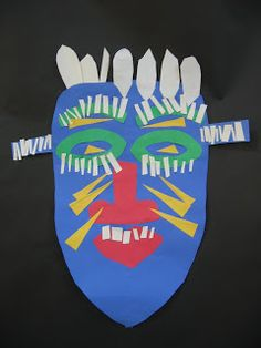 For our schools Black History Month celebration my art classes made collaged African Masks using symmetry. African Art Projects, African Crafts, Kindergarten Art Lessons, African Symbols, Masks Art, African Masks, African Safari, Art Lesson Plans, Black History Month