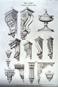 Designs for cast iron consoles, corbels and an urn (Furniture Designs Sketches) Detail Architecture, Architecture Mapping, Classic Architecture, Architecture Drawings, Gothic Architecture, Historical Architecture, Ancient Architecture, Sustainable Architecture, Landscape Architecture
