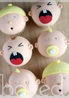 I combined a few different elements of designs I have seen around to make these cute cupcakes for a baby shower. Baby Cupcake, Baby Shower Cupcakes, Shower Cakes, Fondant Toppers, Fondant Cupcakes, Cupcake Cakes, Cupcake Toppers, Cupcakes Princesas, Love Cupcakes