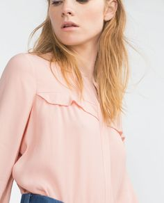 Image 2 of BLOUSE WITH FRILL DETAIL from Zara