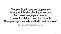 Somebody That I Used To Know Lyrics