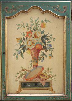 Pair of Italian 1920s Hand Painted Commodes Door Panel