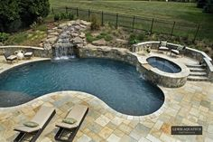 kidney shaped pool with hot tub - Google Search