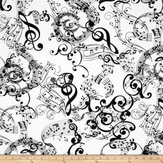 Kanvas Concerto Mozarts Mind White from @fabricdotcom  Designed by Maria Kalinowski for Kanvas, in association with Benartex, this music themed cotton print fabric is perfect for quilting, apparel, crafts, and home decor items.