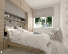 Kolorystyka, zabudowa wokół łóżka i nad łóżkiem, zagłówek , roleta rzymska