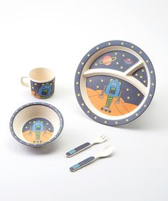 This Blue Robot Bambooware Dinner Set is perfect! #zulilyfinds