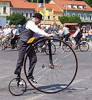 Penny-farthing - Wikipedia, the free encyclopedia Penny Farthing, Chain Drive, Rubber Tires, Bicycle Design, Car Wheels, Vintage Bicycles, Tricycle, Baby Strollers, Cycling