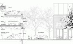 Gallery of Hipsterkasbah (Otaniemi Campus, Aalto University) / ALA Architects - 21 Landscape Architecture Section, Landscape Architecture Drawing, Park Landscape, Architecture Graphics, Architecture Plan, Architecture Details, Landscape Design, Landscape Architects, Architectural Section