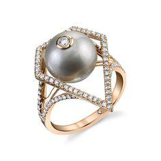 GEOMETRIC CAGED PEARL & DIAMOND RING