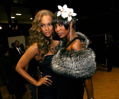 Frenemies: Supermodels Tyra Banks and Naomi Campbell pose at the 38th annual NAACP Image Awards in LA in March 2007