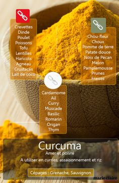 Le curcuma parfume et colore ! Ayurveda, Cooking With Turmeric, Marinade Sauce, Salty Foods, Snack Recipes, Healthy Recipes, Spices And Herbs, Tips & Tricks, Spice Blends