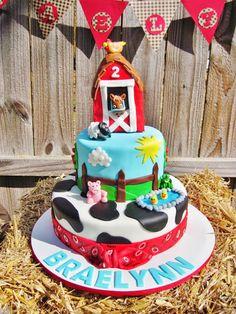 Farm themed birthday cake  barn, cow, country, rustic