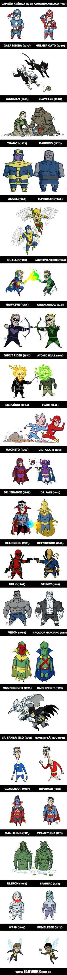 23 personagens equivalentes da DC e da Marvel! (2 de 2), via failwars;